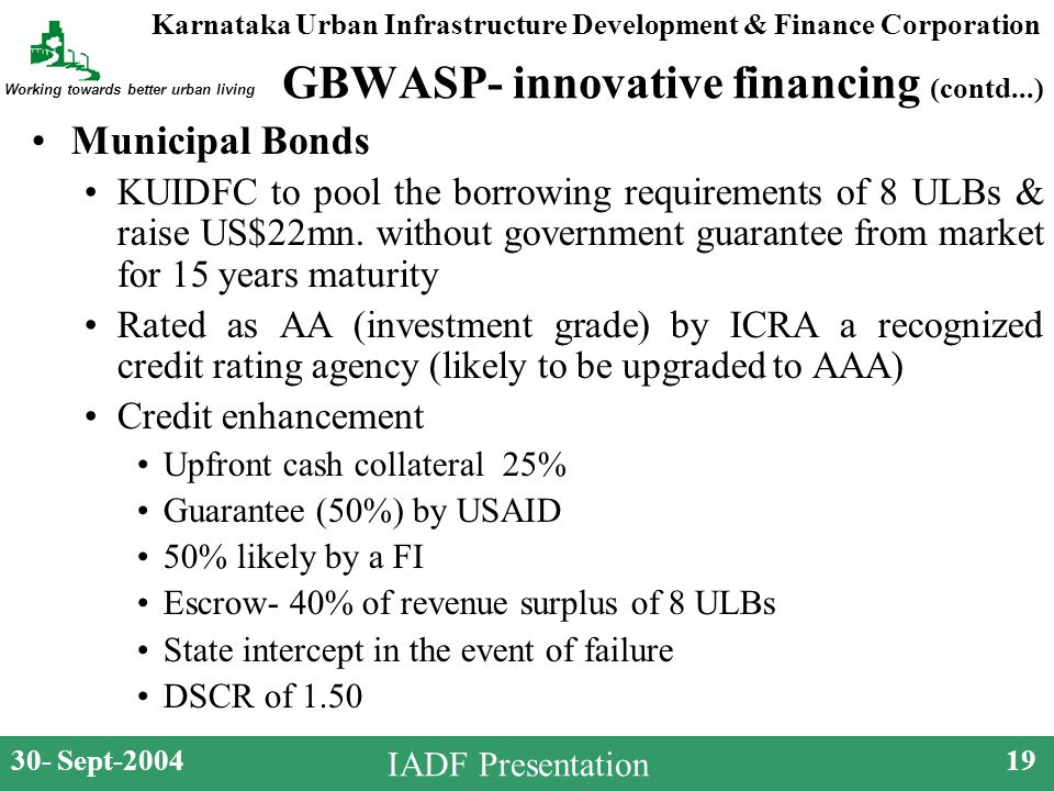 Karnataka Urban Infrastructure Development & Finance Corporation Working towards better urban living 30- Sept-200419 IADF Presentation GBWASP- innovative financing (contd...) Municipal Bonds KUIDFC to pool the borrowing requirements of 8 ULBs & raise US$22mn.