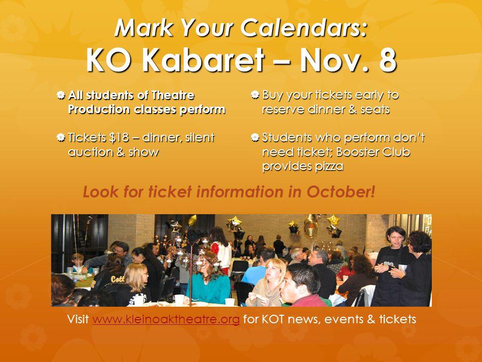 Mark Your Calendars: KO Kabaret – Nov.