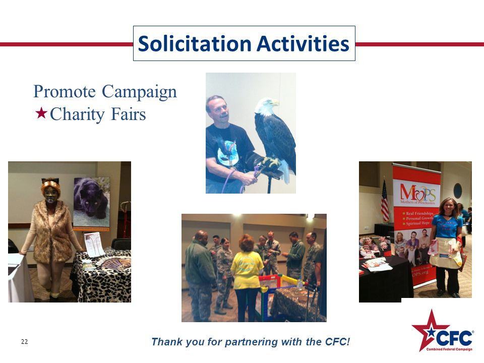 Thank you for partnering with the CFC! Solicitation Activities Promote Campaign  Charity Fairs 22