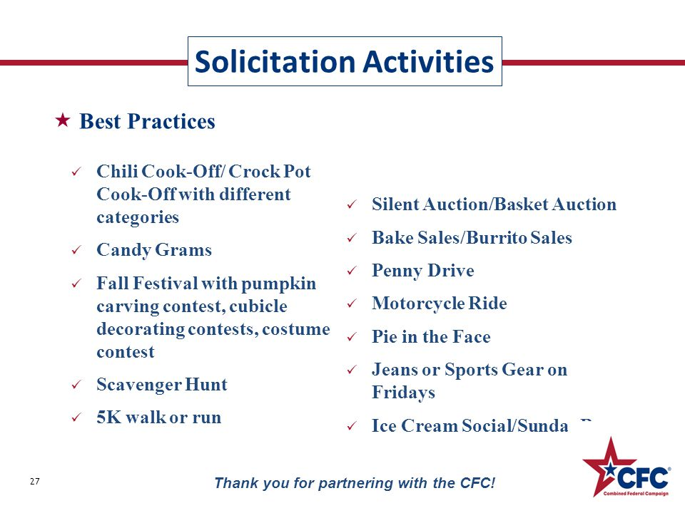 Solicitation Activities 27 Thank you for partnering with the CFC! Chili Cook-Off/ Crock Pot Cook-Off with different categories Candy Grams Fall Festiv