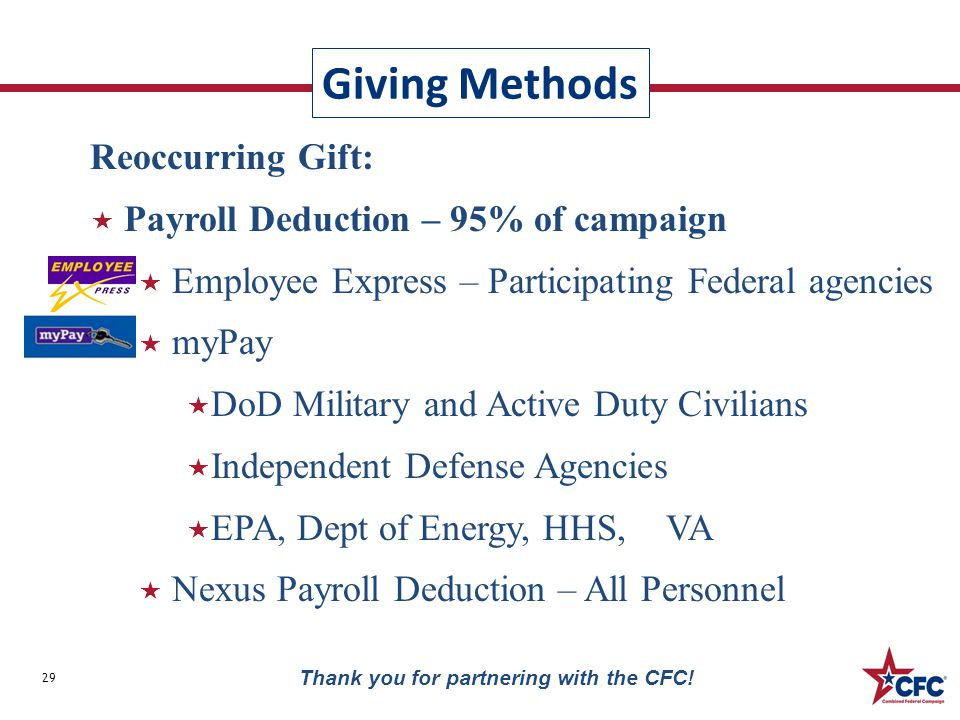 Giving Methods 29 Reoccurring Gift:  Payroll Deduction – 95% of campaign  Employee Express – Participating Federal agencies  myPay  DoD Military a