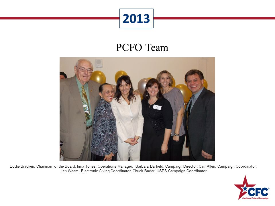PCFO Team Eddie Bracken, Chairman of the Board, Irma Jones, Operations Manager, Barbara Barfield, Campaign Director, Cari Allen, Campaign Coordinator, Jen Weem, Electronic Giving Coordinator, Chuck Bader, USPS Campaign Coordinator 2013