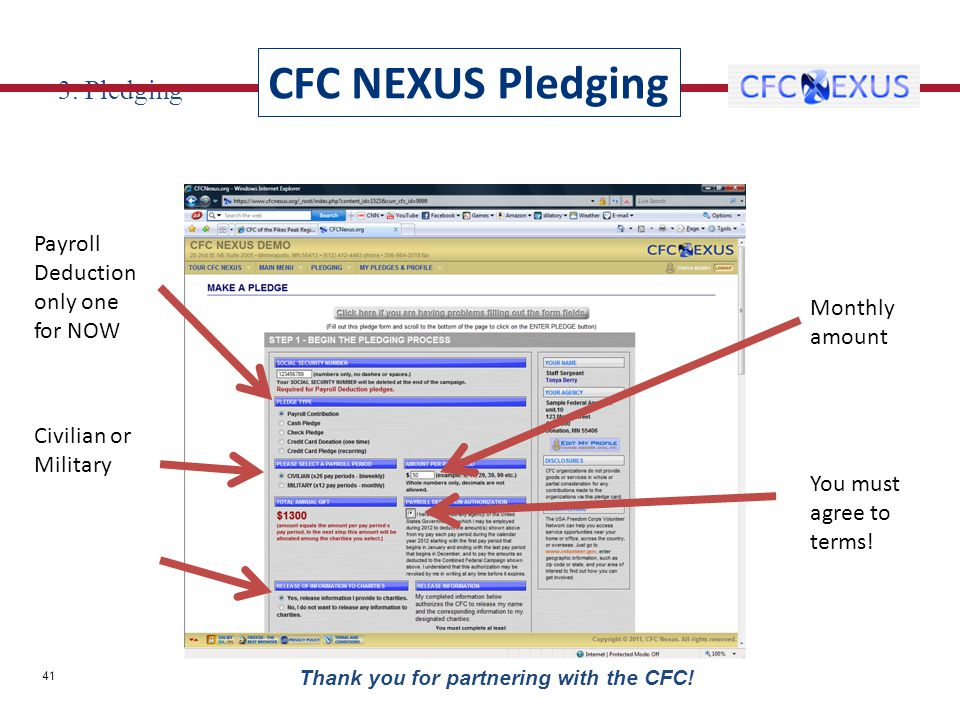 3. Pledging Payroll Deduction only one for NOW Civilian or Military Monthly amount You must agree to terms! CFC NEXUS Pledging 41 Thank you for partne