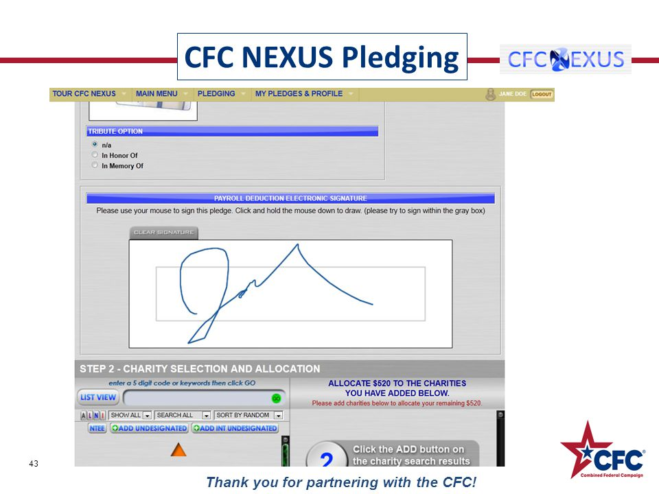 CFC NEXUS Pledging 43 Thank you for partnering with the CFC!