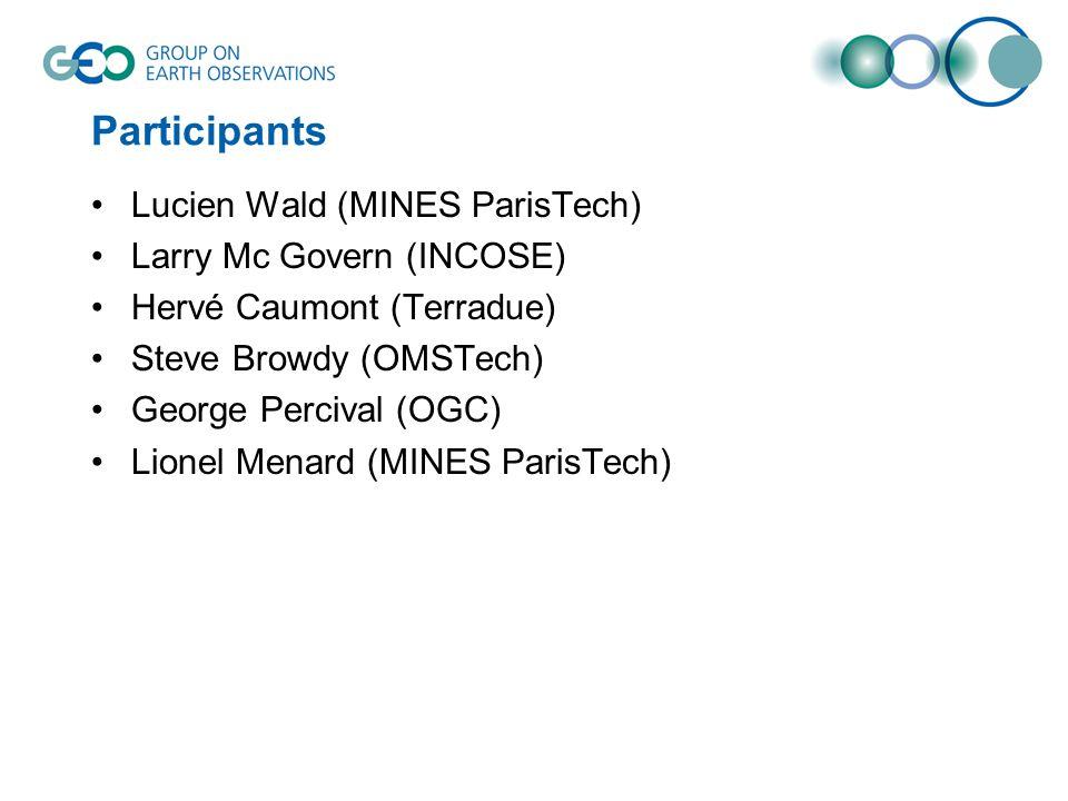 Participants Lucien Wald (MINES ParisTech) Larry Mc Govern (INCOSE) Hervé Caumont (Terradue) Steve Browdy (OMSTech) George Percival (OGC) Lionel Menar