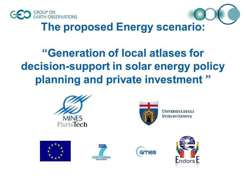 """The proposed Energy scenario: """"Generation of local atlases for decision-support in solar energy policy planning and private investment """""""