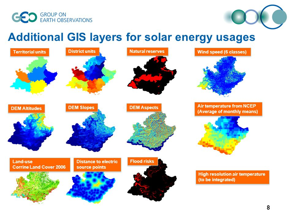 Additional GIS layers for solar energy usages 8 Territorial units District units Natural reserves Flood risks DEM Slopes Land-use Corrine Land Cover 2