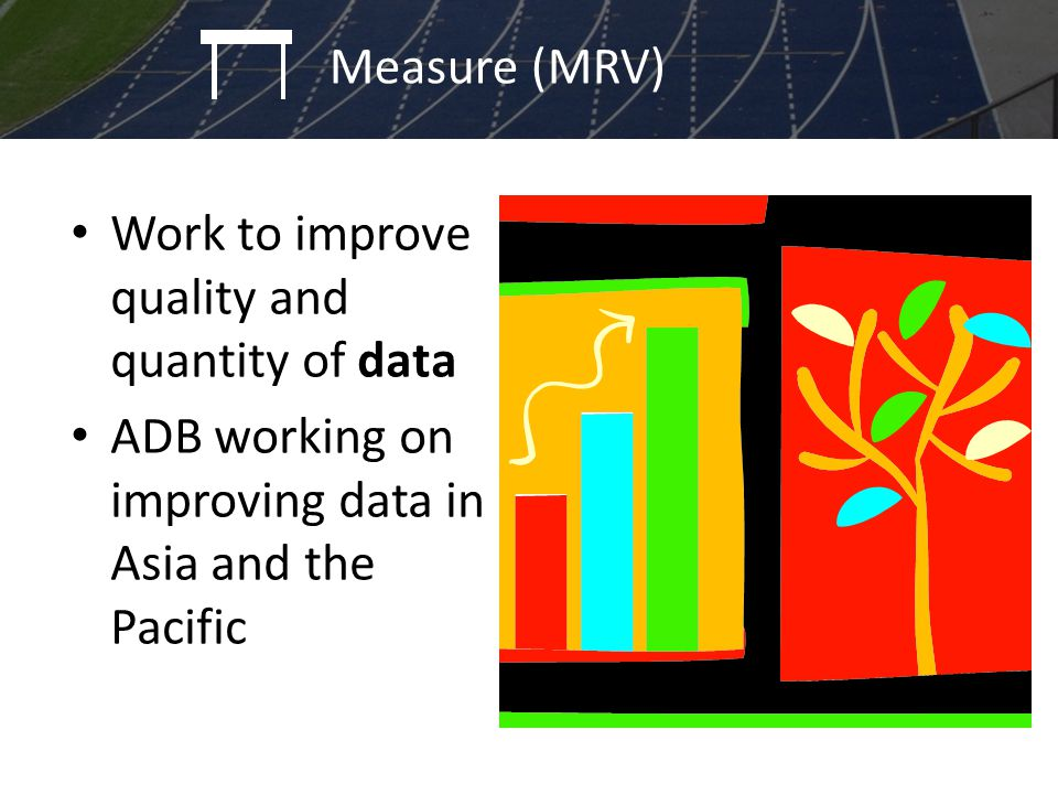 Work to improve quality and quantity of data ADB working on improving data in Asia and the Pacific Policy identification and programming Measure (MRV)