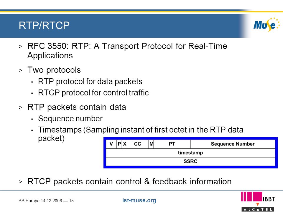 BB Europe 14.12.2006 — 15 ist-muse.org RTP/RTCP > RFC 3550: RTP: A Transport Protocol for Real-Time Applications > Two protocols RTP protocol for data packets RTCP protocol for control traffic > RTP packets contain data Sequence number Timestamps (Sampling instant of first octet in the RTP data packet) > RTCP packets contain control & feedback information