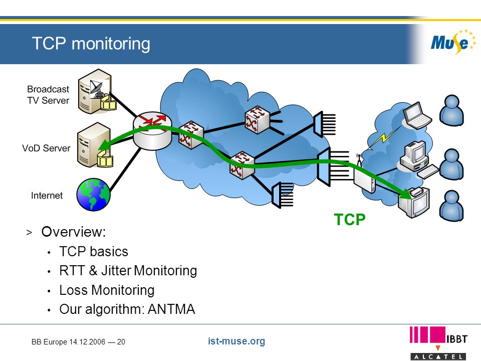 BB Europe 14.12.2006 — 20 ist-muse.org TCP monitoring > Overview: TCP basics RTT & Jitter Monitoring Loss Monitoring Our algorithm: ANTMA TCP