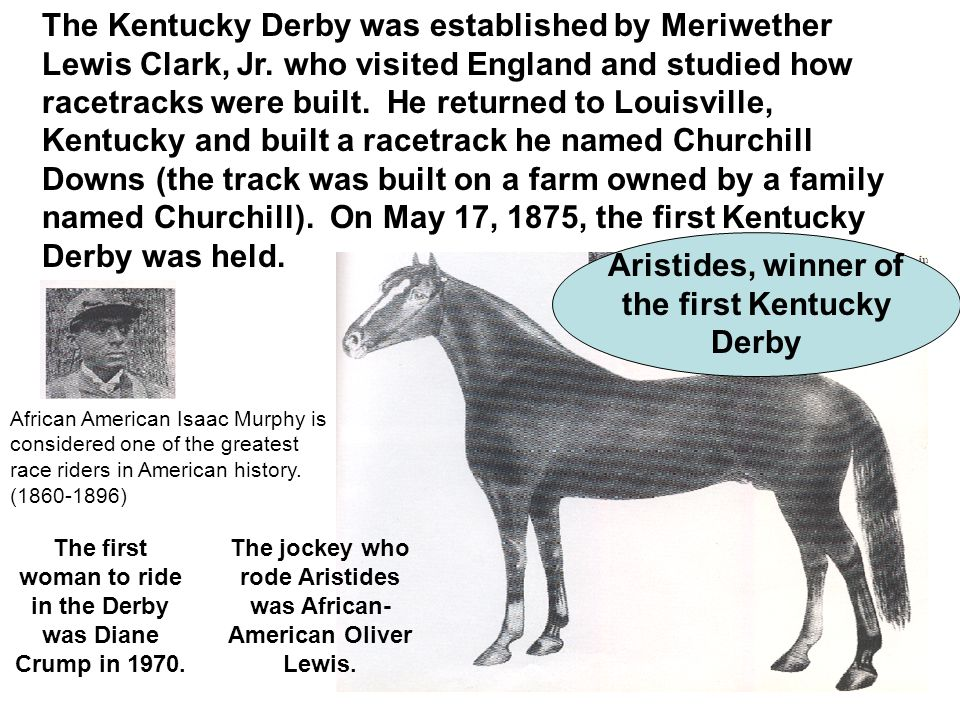The Kentucky Derby was established by Meriwether Lewis Clark, Jr.