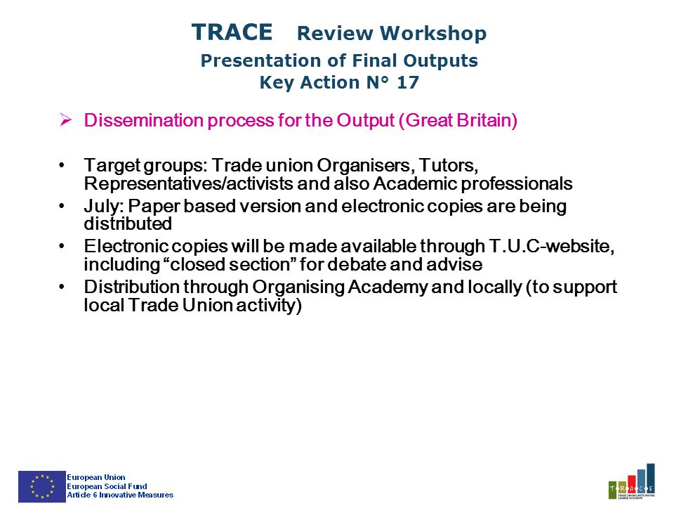 TRACE Review Workshop Presentation of Final Outputs Key Action N° 17  Dissemination process for the Output (Great Britain) Target groups: Trade union Organisers, Tutors, Representatives/activists and also Academic professionals July: Paper based version and electronic copies are being distributed Electronic copies will be made available through T.U.C-website, including closed section for debate and advise Distribution through Organising Academy and locally (to support local Trade Union activity)