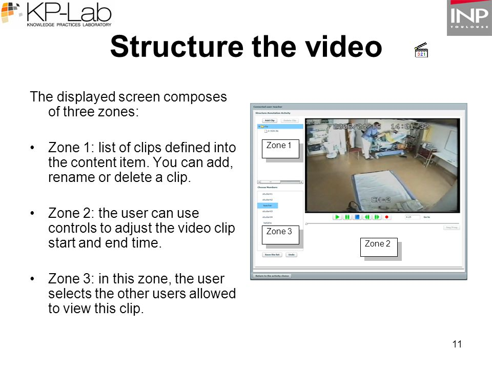 11 The displayed screen composes of three zones: Zone 1: list of clips defined into the content item. You can add, rename or delete a clip. Zone 2: th