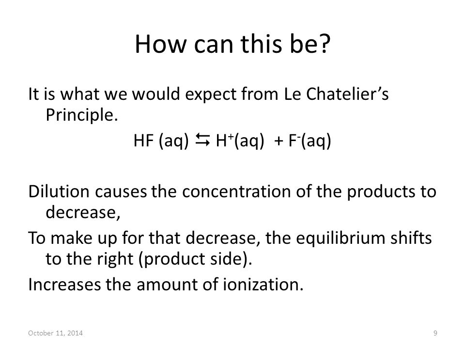 October 11, 20149 How can this be? It is what we would expect from Le Chatelier's Principle. HF (aq)  H + (aq) + F - (aq) Dilution causes the concent