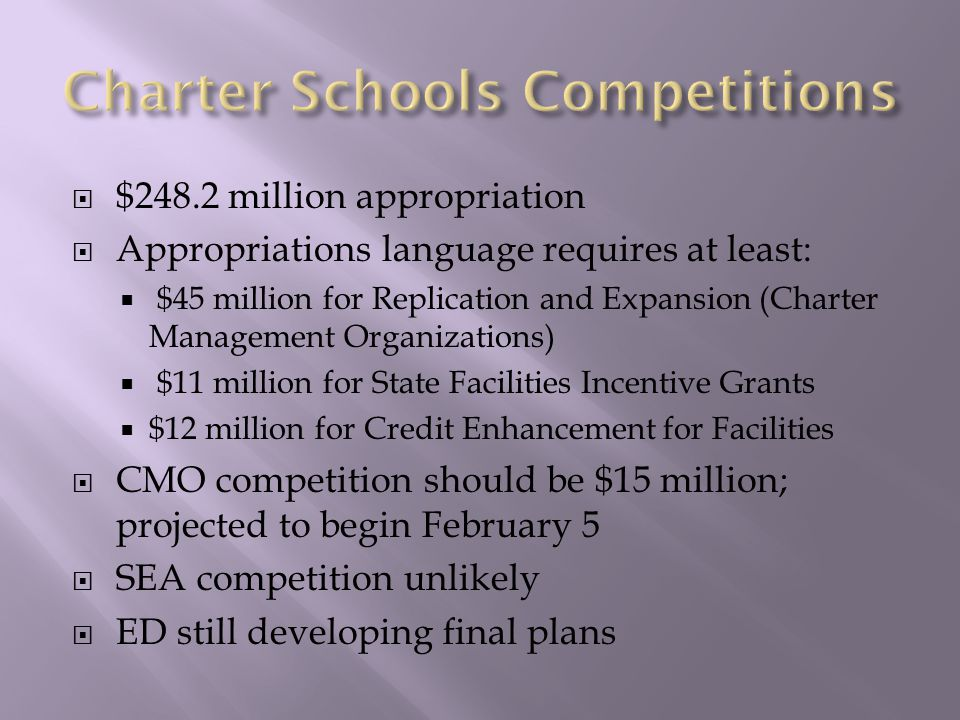  $248.2 million appropriation  Appropriations language requires at least:  $45 million for Replication and Expansion (Charter Management Organizations)  $11 million for State Facilities Incentive Grants  $12 million for Credit Enhancement for Facilities  CMO competition should be $15 million; projected to begin February 5  SEA competition unlikely  ED still developing final plans