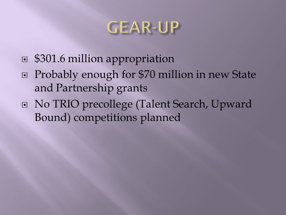  $301.6 million appropriation  Probably enough for $70 million in new State and Partnership grants  No TRIO precollege (Talent Search, Upward Bound) competitions planned