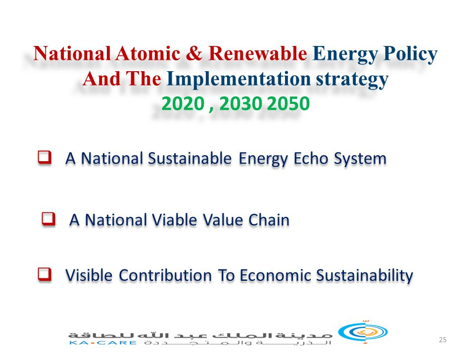 25 National Atomic & Renewable Energy Policy And The Implementation strategy 2020, 2030 2050 National Atomic & Renewable Energy Policy And The Implementation strategy 2020, 2030 2050  A National Sustainable Energy Echo System  A National Viable Value Chain  Visible Contribution To Economic Sustainability