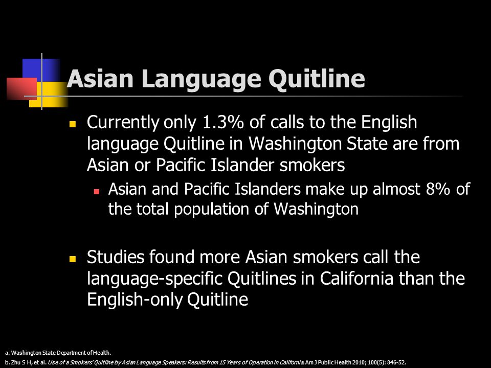 Asian Language Quitline Currently only 1.3% of calls to the English language Quitline in Washington State are from Asian or Pacific Islander smokers A