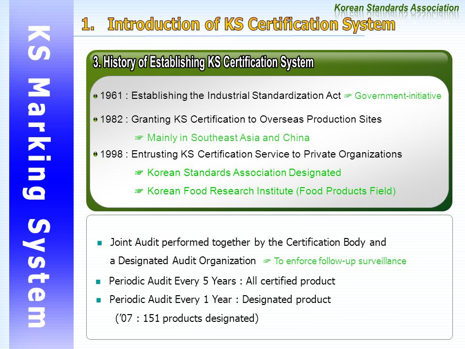 1961 : Establishing the Industrial Standardization Act ☞ Government-initiative 1982 : Granting KS Certification to Overseas Production Sites ☞ Mainly