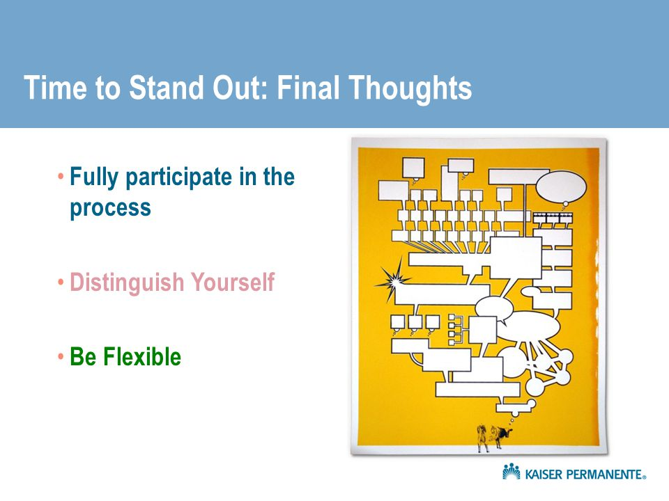Time to Stand Out: Final Thoughts Fully participate in the process Distinguish Yourself Be Flexible