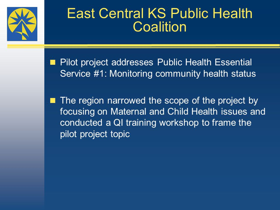 East Central KS Public Health Coalition Pilot project addresses Public Health Essential Service #1: Monitoring community health status The region narrowed the scope of the project by focusing on Maternal and Child Health issues and conducted a QI training workshop to frame the pilot project topic