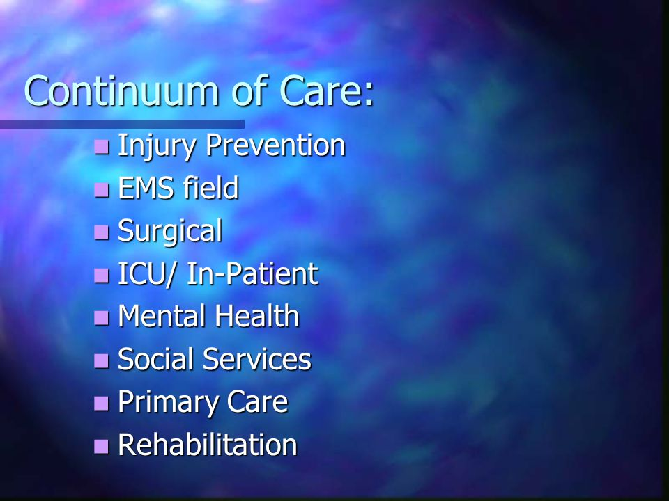 Continuum of Care: Injury Prevention Injury Prevention EMS field EMS field Surgical Surgical ICU/ In-Patient ICU/ In-Patient Mental Health Mental Health Social Services Social Services Primary Care Primary Care Rehabilitation Rehabilitation