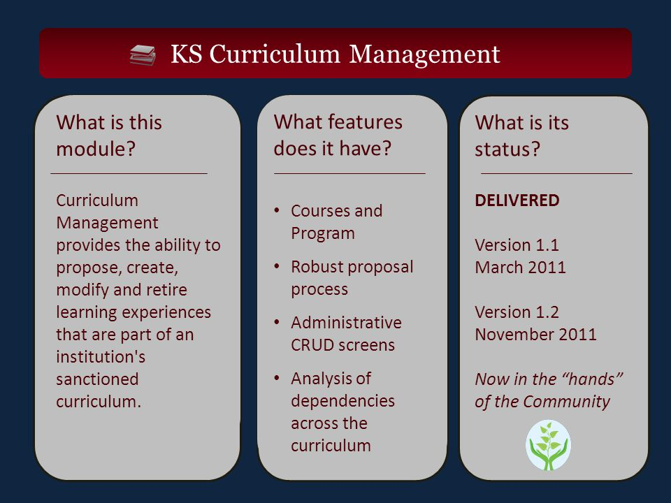 KS Curriculum Management What is this module.