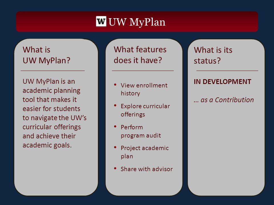UW MyPlan What is UW MyPlan.