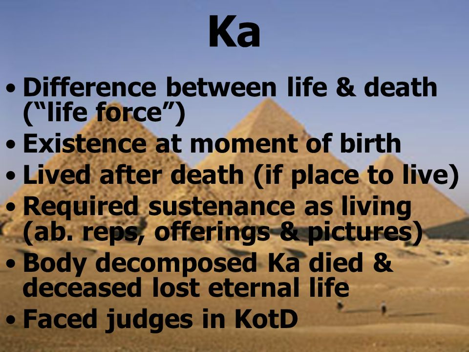 Ka Difference between life & death ( life force ) Existence at moment of birth Lived after death (if place to live) Required sustenance as living (ab.