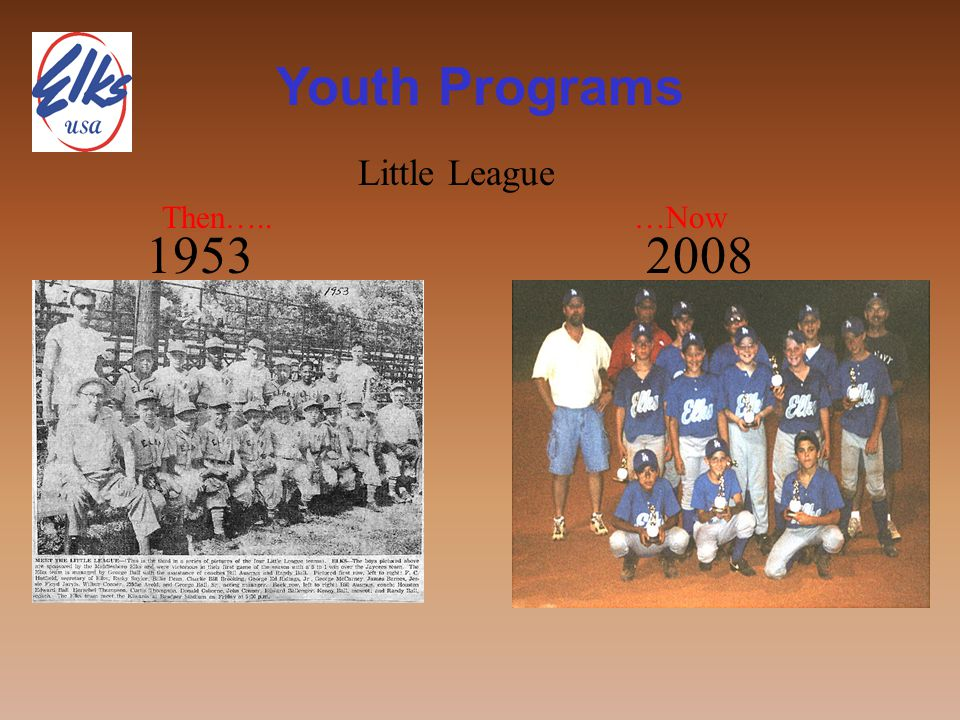 Youth Programs Then….. 1953 …Now 2008 Little League