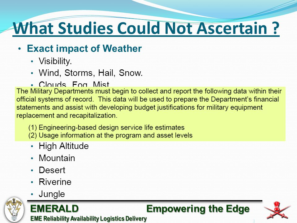 3 What Studies Could Not Ascertain . Exact impact of Weather Visibility.