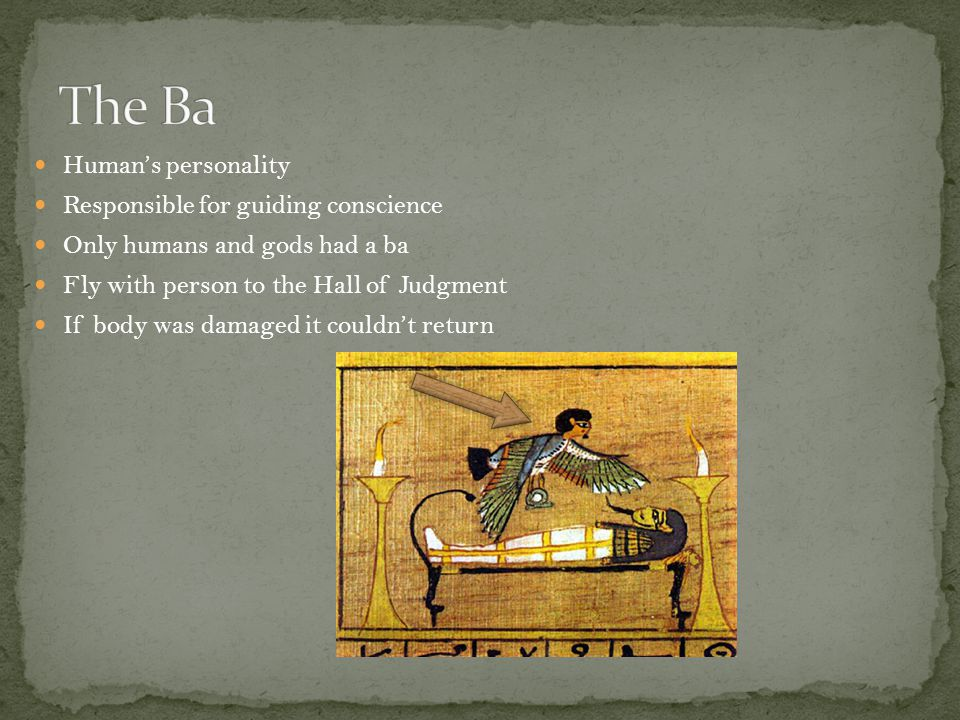 Human's personality Responsible for guiding conscience Only humans and gods had a ba Fly with person to the Hall of Judgment If body was damaged it couldn't return