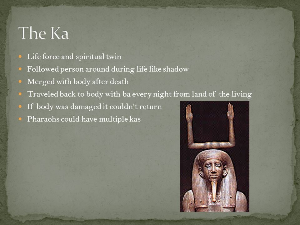Life force and spiritual twin Followed person around during life like shadow Merged with body after death Traveled back to body with ba every night from land of the living If body was damaged it couldn't return Pharaohs could have multiple kas