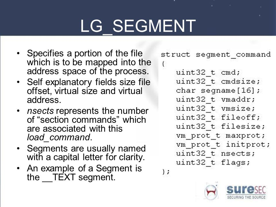 LG_SEGMENT Specifies a portion of the file which is to be mapped into the address space of the process.
