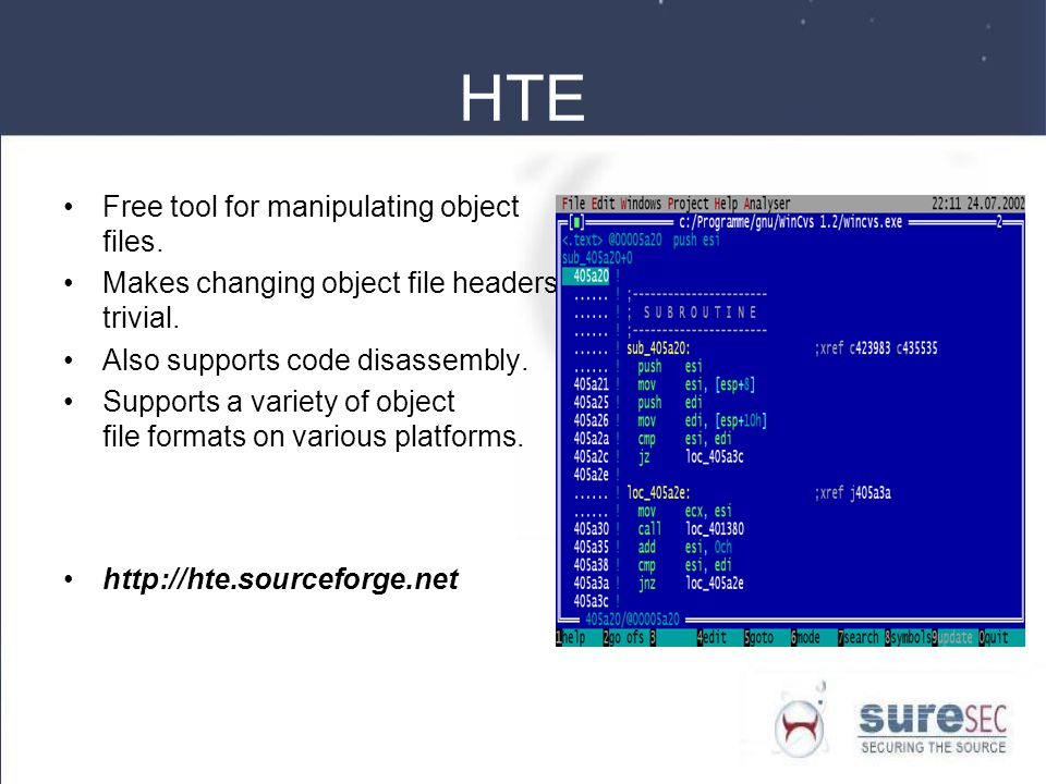 HTE Free tool for manipulating object files. Makes changing object file headers trivial.