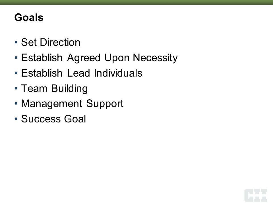 Goals Set Direction Establish Agreed Upon Necessity Establish Lead Individuals Team Building Management Support Success Goal 2