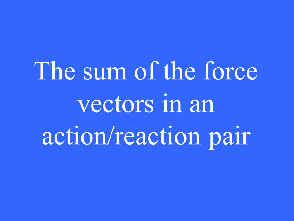 The sum of the force vectors in an action/reaction pair
