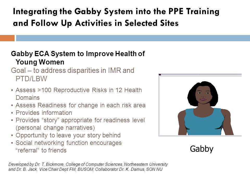 Integrating the Gabby System into the PPE Training and Follow Up Activities in Selected Sites Gabby ECA System to Improve Health of Young Women Goal – to address disparities in IMR and PTD/LBW Assess >100 Reproductive Risks in 12 Health Domains Assess Readiness for change in each risk area Provides information Provides story appropriate for readiness level (personal change narratives) Opportunity to leave your story behind Social networking function encourages referral to friends Gabby Developed by Dr.