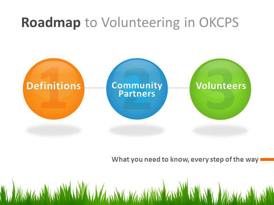 Roadmap to Volunteering in OKCPS What you need to know, every step of the way 1Definitions 2CommunityPartners 3Volunteers