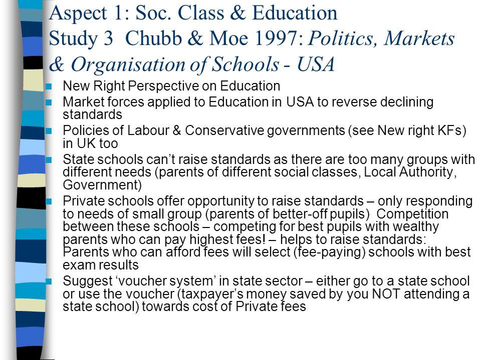 Aspect 1: Soc. Class & Education Study 3 Chubb & Moe 1997: Politics, Markets & Organisation of Schools - USA New Right Perspective on Education Market