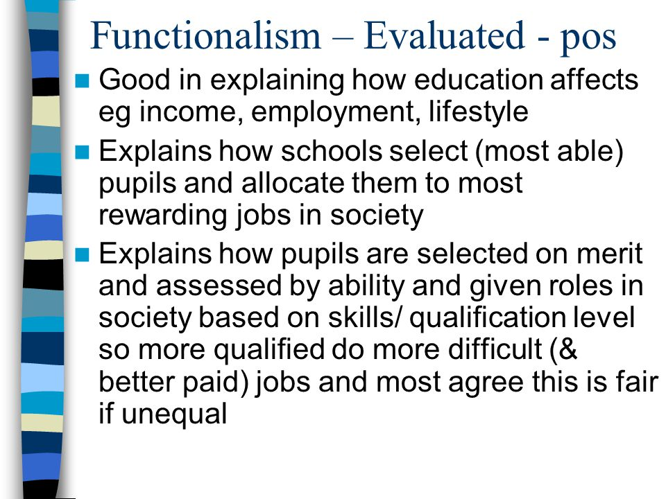 Functionalism – Evaluated - pos Good in explaining how education affects eg income, employment, lifestyle Explains how schools select (most able) pupils and allocate them to most rewarding jobs in society Explains how pupils are selected on merit and assessed by ability and given roles in society based on skills/ qualification level so more qualified do more difficult (& better paid) jobs and most agree this is fair if unequal