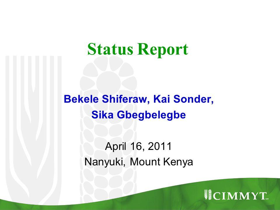 Status Report Bekele Shiferaw, Kai Sonder, Sika Gbegbelegbe April 16, 2011 Nanyuki, Mount Kenya