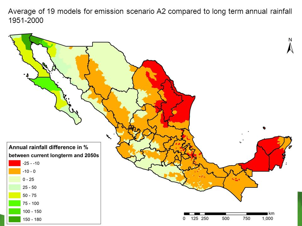 Average of 19 models for emission scenario A2 compared to long term annual rainfall 1951-2000