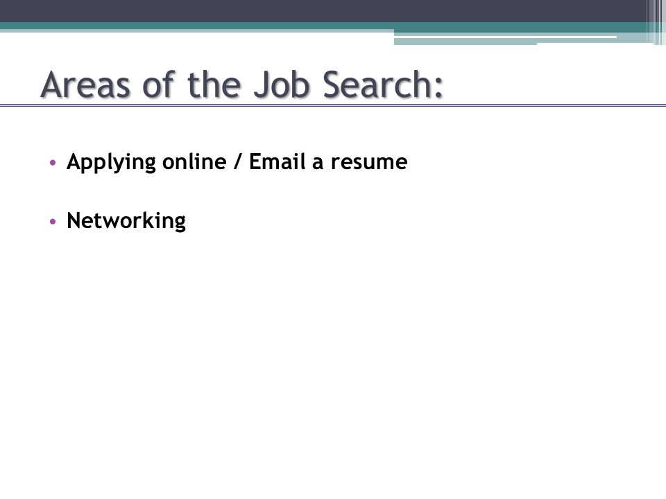 Areas of the Job Search: Applying online / Email a resume Networking