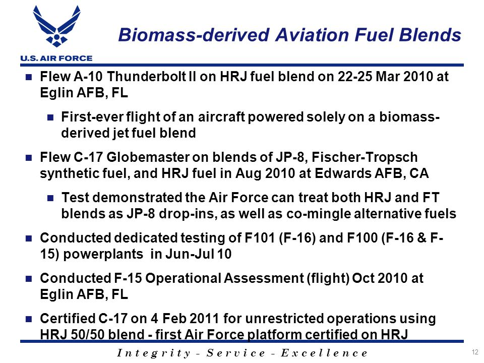 I n t e g r i t y - S e r v i c e - E x c e l l e n c e Biomass-derived Aviation Fuel Blends Flew A-10 Thunderbolt II on HRJ fuel blend on 22-25 Mar 2