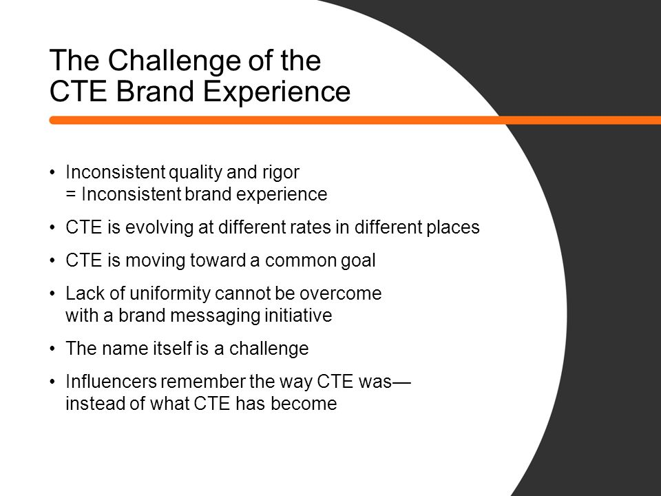 The Challenge of the CTE Brand Experience Inconsistent quality and rigor = Inconsistent brand experience CTE is evolving at different rates in different places CTE is moving toward a common goal Lack of uniformity cannot be overcome with a brand messaging initiative The name itself is a challenge Influencers remember the way CTE was— instead of what CTE has become