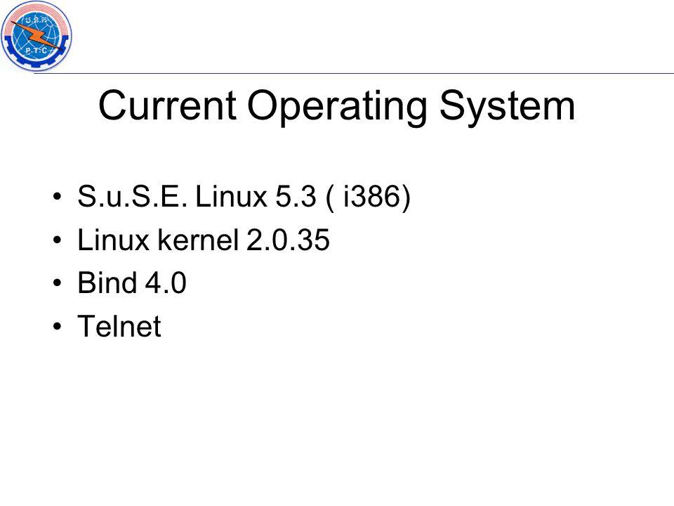S.u.S.E. Linux 5.3 ( i386) Linux kernel 2.0.35 Bind 4.0 Telnet Current Operating System