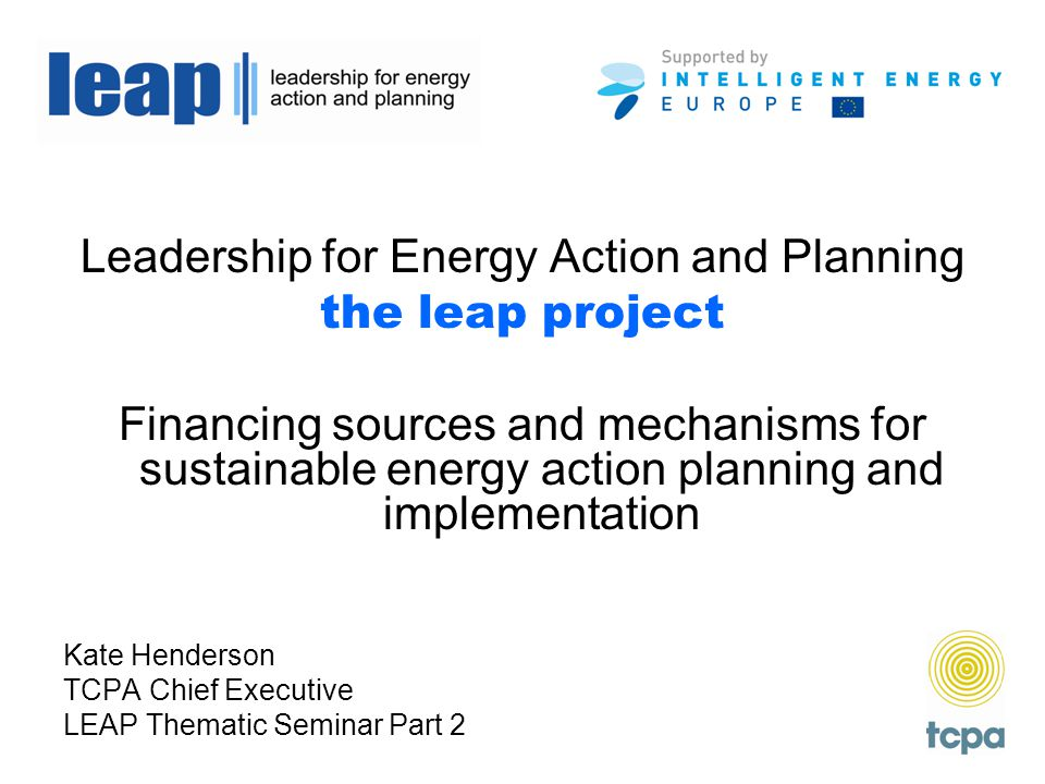 Leadership for Energy Action and Planning the leap project Financing sources and mechanisms for sustainable energy action planning and implementation