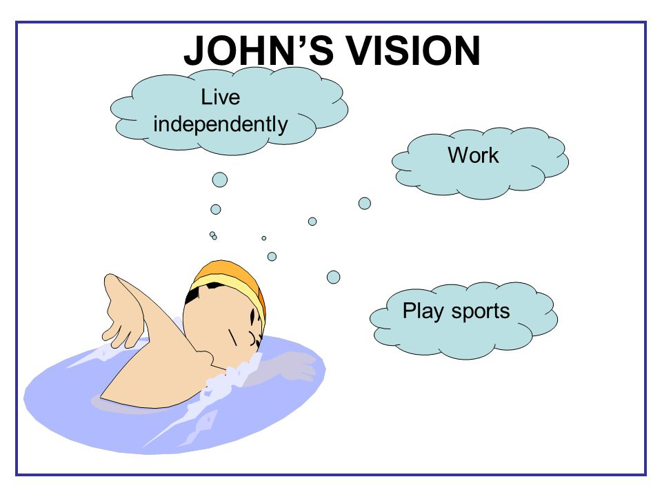 Live independently Play sports Work JOHN'S VISION