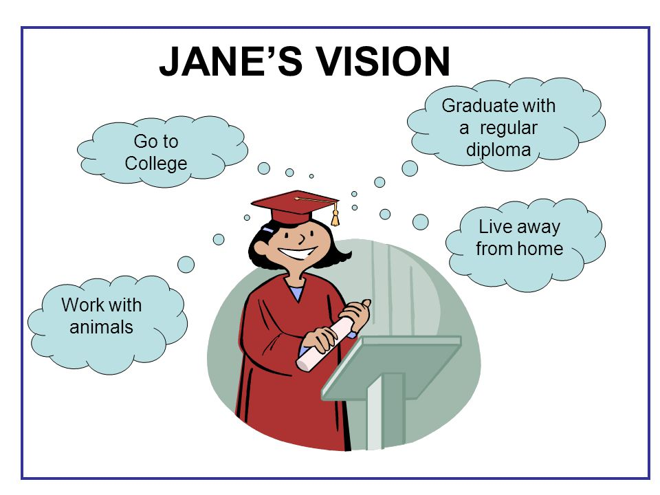 JANE'S VISION Graduate with a regular diploma Go to College Work with animals Live away from home